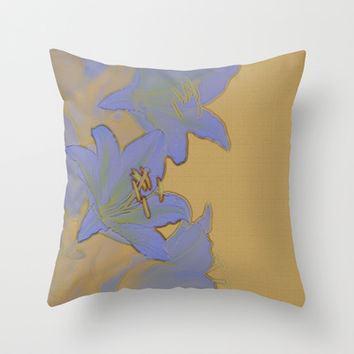 Vintage Look Mustard Yellow Stone Texture Lavendar Lily Throw Pillow by Natural Design