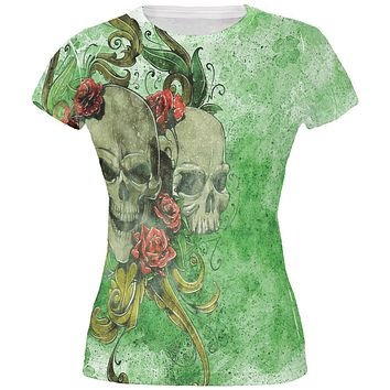 St. Patricks Day Deadly Wild Irish Rose Skull Tattoo All Over Juniors T Shirt