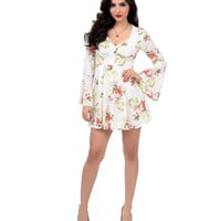 1970s Style Ivory & Floral Bell Sleeve Fit & Flare Dress
