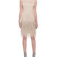 Haute Hippie Feathers & Embellished Jersey Dress