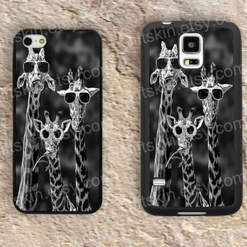Giraffe Funny Glasses iphone 4 4s iphone  5 5s iphone 5c case samsung galaxy s3 s4 case s5 galaxy note2 note3 case cover skin 148