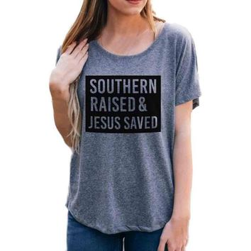 T-Shirt Women Hot Sale southern raised Letters Printing Short