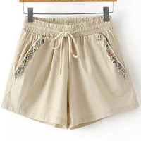 Khaki Elastic Drawstring Waist Beads Embellished Mini Shorts