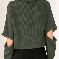 Army Green High Roll Neck Zipper Detail Cropped Knitted Sweater