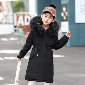 New Baby Boys Girls Fashion Long Clothes Hooded Big Nature Fur Down Jacket Children Outerwear Winter Coats Boys Thick Parka