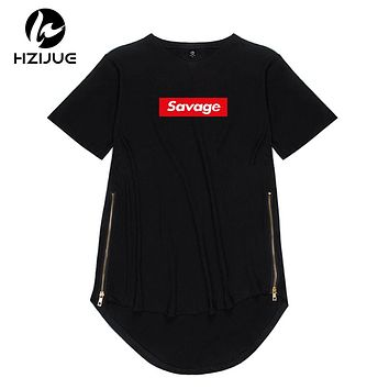 HZIJUE  2018 Swag Newest Fashion Men t-shirt Savage Printing t-shirt oversized Side Zipper Style Male Tops Extended Kanye Style