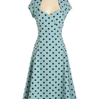 ModCloth Vintage Inspired Long Cap Sleeves A-line Small Business Spotlight Dress in Dots