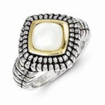 Sterling Silver w/14k Yellow Gold Mother of Pearl Ring