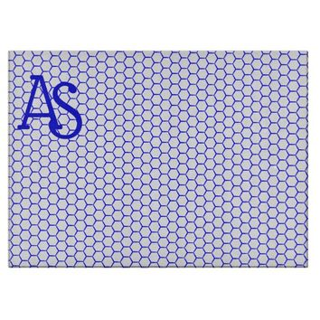 Blue pattern. Hexagonal grid. Monogram. Cutting Board