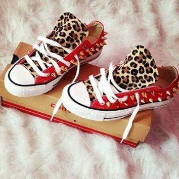 LMFUG7 Leopard Studded Converse Shoes