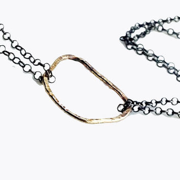 Martina 14KY Gold Circle Necklace on Charcoal Silver Chain