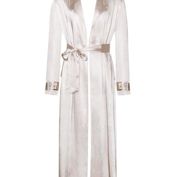 Kaisee Beige Satin Trench with Belt