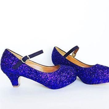 Purple Glitter Girls Heels, Flower Girl Shoes