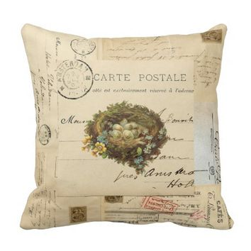 Vintage Bird Nest French Postcards Pillow