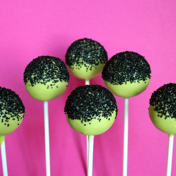 12 Neon Green Cake Pops with Black Sugar Sprinkles for Halloween, Frankenstein, Glow, Fall, Wedding, Birthday Party Favors, Teacher Gift