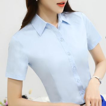 2017 Summer White Blouse Women Work Wear Button Turn Down Collar Short Sleeve Slim Tops Shirt Blusas Feminina Size S-XXL XFS163