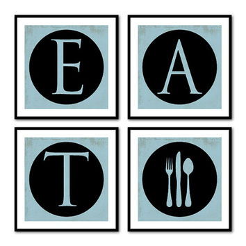 EAT - Fork Spoon Knife - Four 8 x 8 or 10 x 10 prints - Kitchen wall Art - Vintage Look - Wall Art Quad - Dining Room wall art