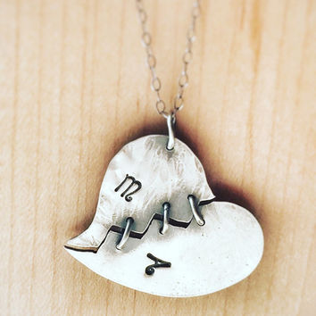 Personalized Heart Necklace, Mended Heart, Romantic jewelry, Relationship Jewelry, Initials Jewelry, Necklace Initials , Necklace for her