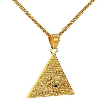 Illuminati Egyptian Pyramid Pendant Evil Eye Stainless Steel Gold Tone Chain New