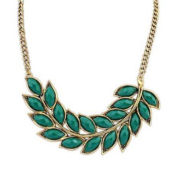 Crystal Necklace Women Bib Statement Collar Chain Vintage Bohemian leaves pendant & necklace