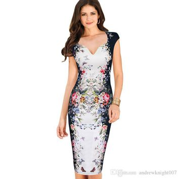 NEW ARRIVAL Womens Summer Elegant Floral Butterfly Print Charming Pinup Cap Sleeve Casual Party Bodycon Sheath Dress DK9014CL Dropshiping