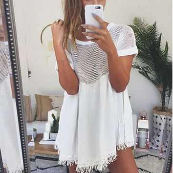 White Short Sleeve Cut Out Dress with Fringe