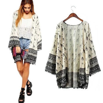Wonderful New Fashion Women Giraffe Pattern Printed Kimono Cardigan Blouse Tops Beach Cover Up [8833941516]