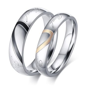 Sale New Never Fade Size 4-15 Fashion Titanium Steel Silver Color Real Love Jewelry Engravable Women & Men Wedding Couple Rings