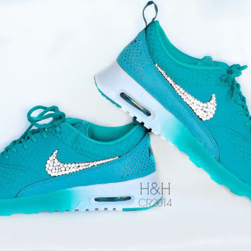 Women's Nike Air Max Thea Premium w/Swarovski Crystals details in Turbo Green/ Metallic Silver