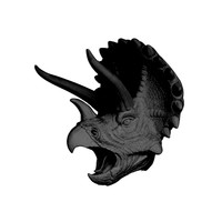 The Topps | Large Triceratops Dinosaur Head | Faux Taxidermy |  Black Resin
