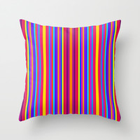 Vertical Happy Stripes Throw Pillow by 2sweet4words Designs | Society6