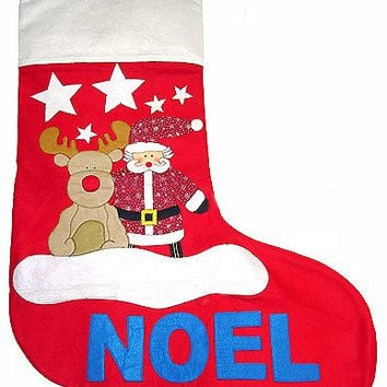 Santa And Reindeer Christmas Stocking - Made Of Felt