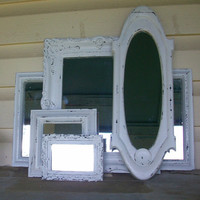 5 Chippy White Shabby Chic Wall Mirrors