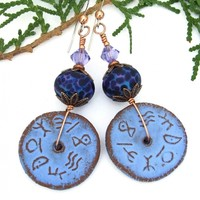 Rustic Runes Handmade Earrings, Blue Ceramic Purple Lampwork Crystal Dangle Jewelry