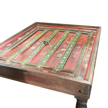 JAIPUR Antique Indian Furniture Coffee Table Red Floral Hand Painted Square Table