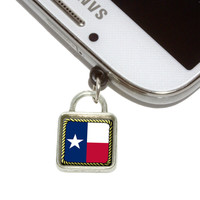 Texas State Flag Square Mobile Phone Silver Charm