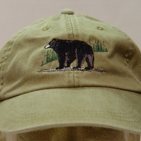 Black Bear Hat - One Embroidered Wildlife Cap - Price Embroidery Apparel - 24 Color Caps Available