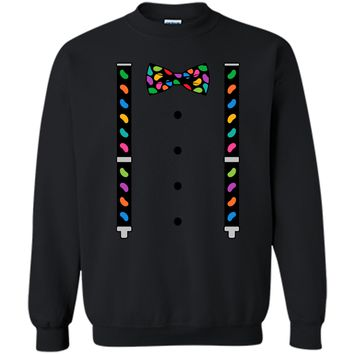 Jelly Beans Black Bow Tie & Suspenders Easter T-Shirt Printed Crewneck Pullover Sweatshirt 8 oz