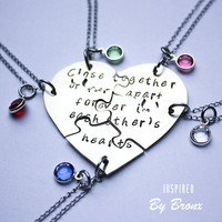 Hand stamped friendship puzzle necklaces, shaped like a heart, with birthstones  - perfect for 5 people
