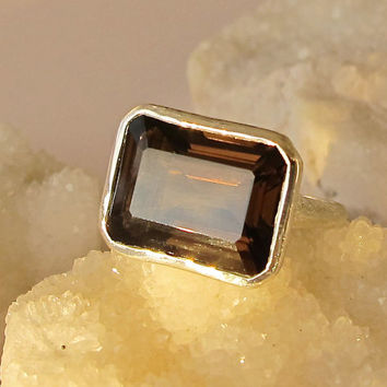 Sale Rectangle Smoky Quartz Ring- Statement Ring- Chunky Gemstone Ring- Large Stone Ring- Quartz Ring- Brown Ring