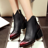 Carved Rub Skin Color Block Cowhide Gothic High Street Black Riding Leather Chelsea Boots Winter Gradient Pointy Cuban Heel