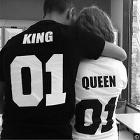 Couple T-Shirt King 01 and Queen 01 - Love Matching Shirts - Couple Tee Tops Hot