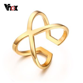 "Vnox Women's  ""X"" Criss-Cross Long Ring Trendy Gold-color"