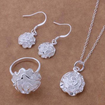 AS193 Hot 925 sterling  silver Jewelry Sets Earring 288 + Necklace 301 + Ring 286 /ahtaizaa aogajfna