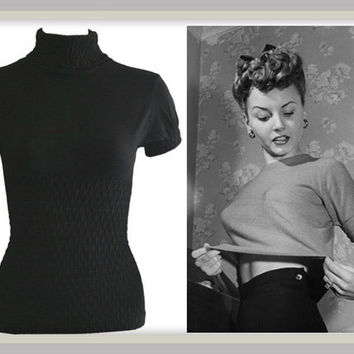 Broad Minded Clothing - 1950's Pinup Sweater Girl Style Black Knit Seamless Short Sleeve Mock Turtleneck Top