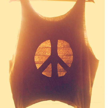 Tank Top Cut Out Peace Sign