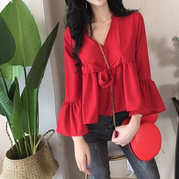 Women Simple Fashion Solid Color Middle Sleeve Deep V Frills Tops