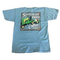Youth Green Tractor Pocket Tee in Ice Blue by Southern Fried Cotton - FINAL SALE