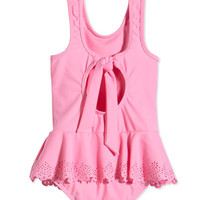 Seafolly Laser-Cut Butterfly One-Piece Swimsuit, Blush Pink, Girls' 0-7