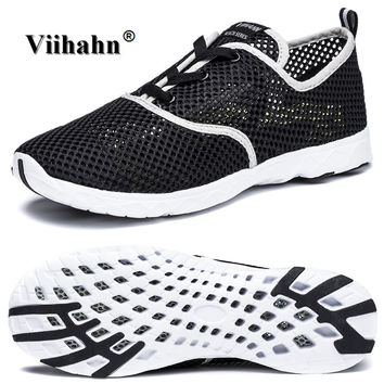 Viihahn Mens Casual Shoes Summer Breathable Mesh Water Shoes Lace Up or Slip On Quick Drying Water Grip Outsole Aqua Shoes